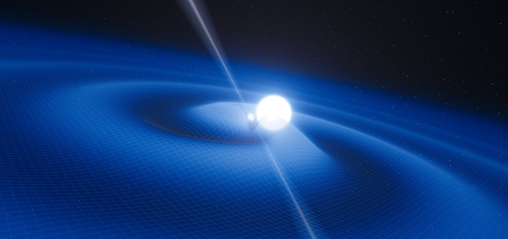This artist's impression shows the exotic double object that consists of a tiny, but very heavy neutron star that spins 25 times each second, orbited every two and a half hours by a white dwarf star. The neutron star is a pulsar named PSR J0348+0432 that is giving off radio waves that can be picked up on Earth by radio telescopes. Although this unusual pair is very interesting in its own right it is also a unique laboratory for testing the limits of physical theories. This system is radiating gravitational radiation, ripples in spacetime. Although these waves cannot be yet detected directly by astronomers on Earth they can be detected indirectly by measuring the change in the orbit of the system as it loses energy. As the pulsar is so small the relative sizes of the two objects are not drawn to scale.