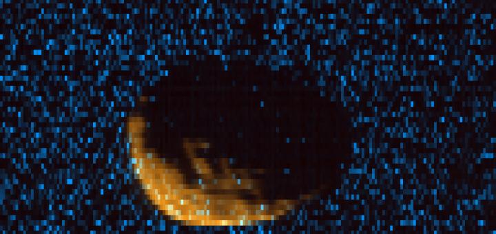 Снимок Фобоса, сделанный MAVEN в ультрафиолетом спектре. Credits: CU/LASP and NASA