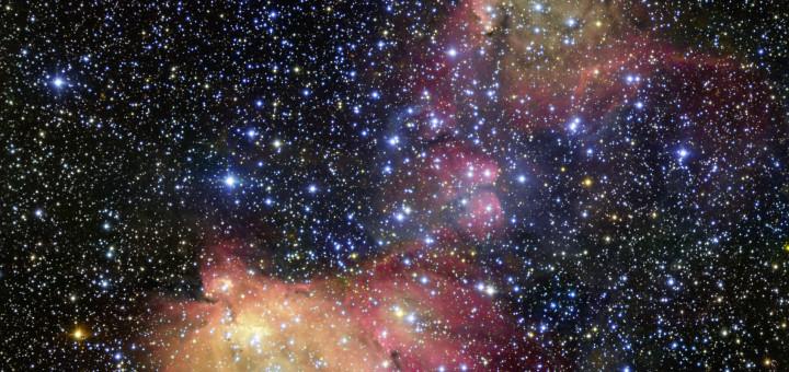 Светящееся газовое облако LHA 120-N55 в Большом Магеллановом Облаке. Credit: ESO