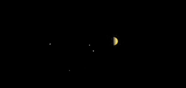 Юпитер и его четыре крупнейших спутника глазами космического аппарата «Juno».  Credits: NASA/JPL-Caltech/MSSS