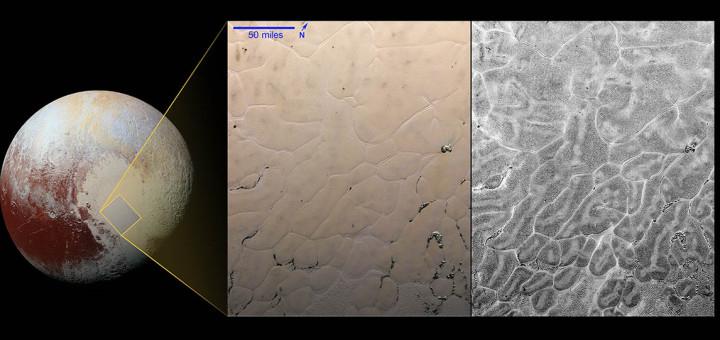 Левая вставка на изображении показывает в усиленных цветах область клеточных равнин в середине «сердца Плутона». Правая вставка является «картой рассеивания» этого региона. Credits: NASA/JHUAPL/SwRI