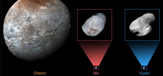 Спутники Плутона: Харон, Никта и Гидра. Credits: NASA/JHUAPL/SwRI