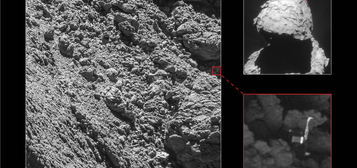 «Philae» найден! Copyright Main image and lander inset: ESA/Rosetta/MPS for OSIRIS Team MPS/UPD/LAM/IAA/SSO/INTA/UPM/DASP/IDA; context: ESA/Rosetta/NavCam – CC BY-SA IGO 3.0