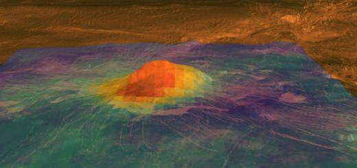 Модель показывает вулканический пик горы Идунн. Цвета характеризуют термограмму, полученную VirTis. Красно-оранжевый – это самый теплый участок, а фиолетовый – самый холодный. Самая теплая зона находится на вершине, которая возвышается на 2,5 километра над равнинами. Представленная модель опирается на данные миссии NASA «Magellan». Credits: ESA/NASA/JPL