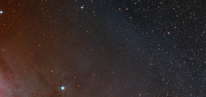 This wide-field image from the Digitized Sky Survey 2 shows the rich starfields surrounding the exotic binary star system AR Scorpii.