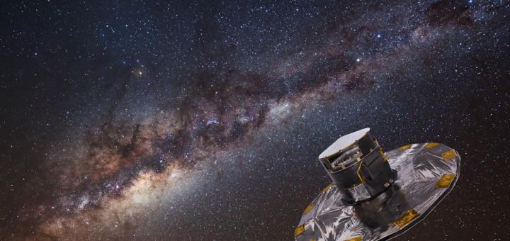 Композиционное изображение показывает космический телескоп «Gaia» на фоне Млечного Пути. Credit: ESA/ATG medialab; background image: ESO/S. Brunier
