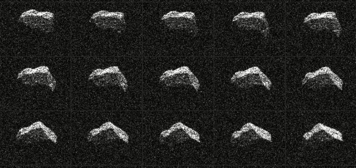 25 радиолокационных снимков астероида 2017 BQ6, полученные 6 и 7 февраля 2017 года. Credits: NASA/JPL-Caltech/GSSR