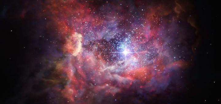 Далекая запыленная галактика A2744_YD4 глазами художника. Credit: ESO/M. Kornmesser