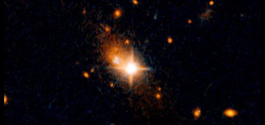 Изгнанный квазар в телескоп «Hubble». Credits: NASA, ESA, and M. Chiaberge (STScI and JHU)