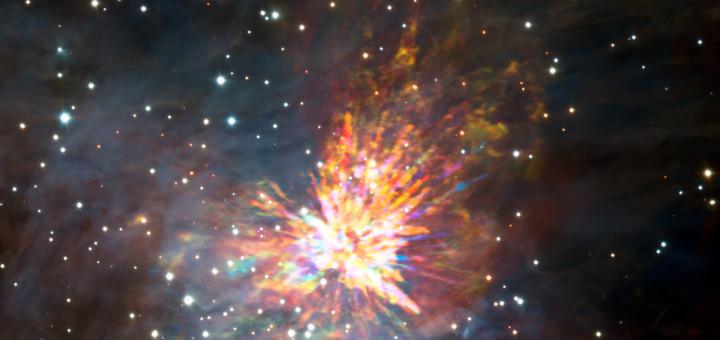 Разлетающиеся во все стороны после столкновения массивных звезд осколки взрыва. Credit: ALMA (ESO/NAOJ/NRAO), J. Bally/H. Drass et al.