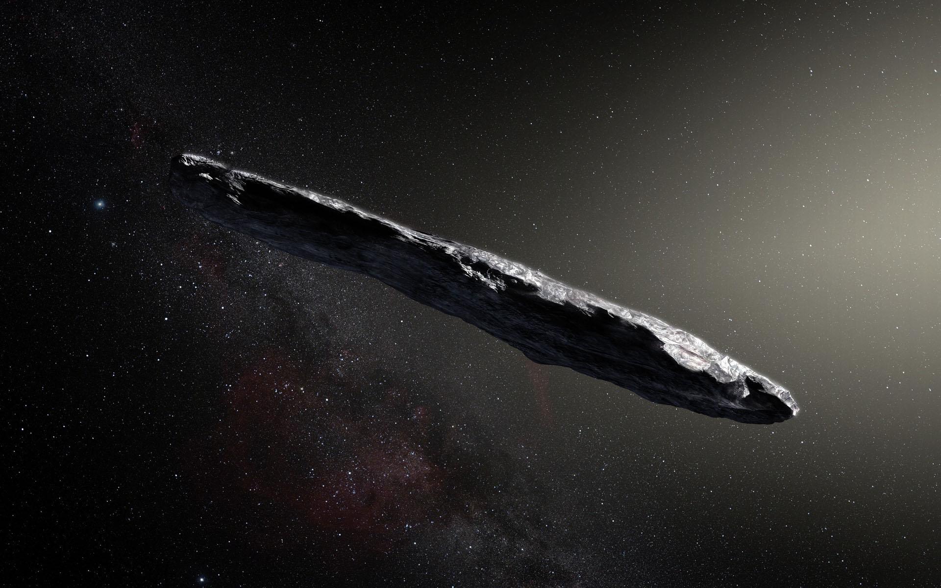 Астероид Оумуамуа в представлении художника. Credit ESO  M. Kornmesser