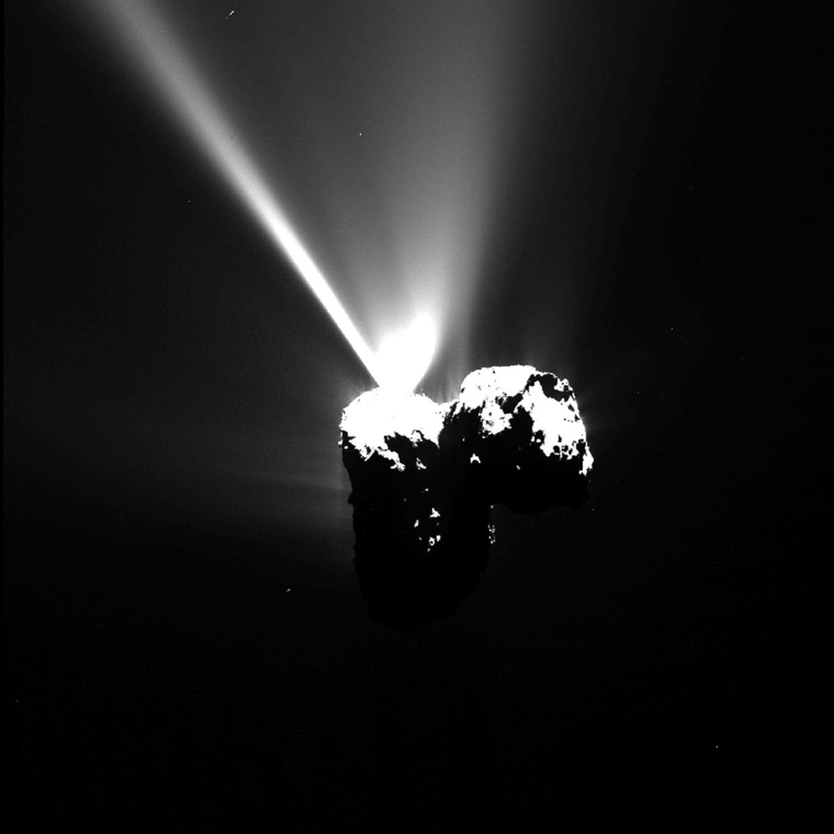 Снимок кометы Чурюмова-Герасименко, сделанный 12 августа 2015 года на расстоянии 330 км. Copyright ESA