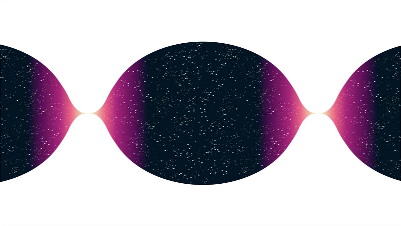 Схематичное изображение теории Большого отскока, согласно которой возникновение нашей Вселенной стало результатом распада некоей «предыдущей» вселенной. Credit: Philipp Dettmer