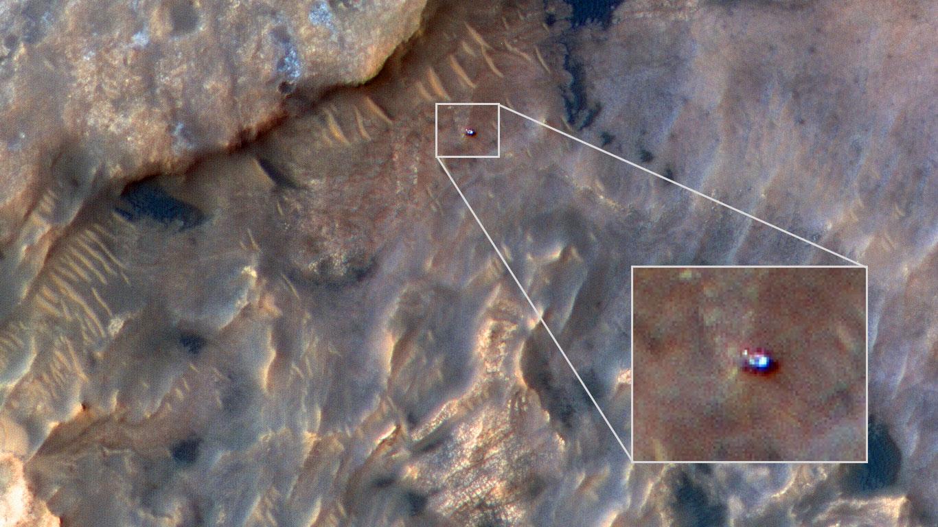 НАСА опубликовало снимок Curiosity, сделанный с орбиты Марса