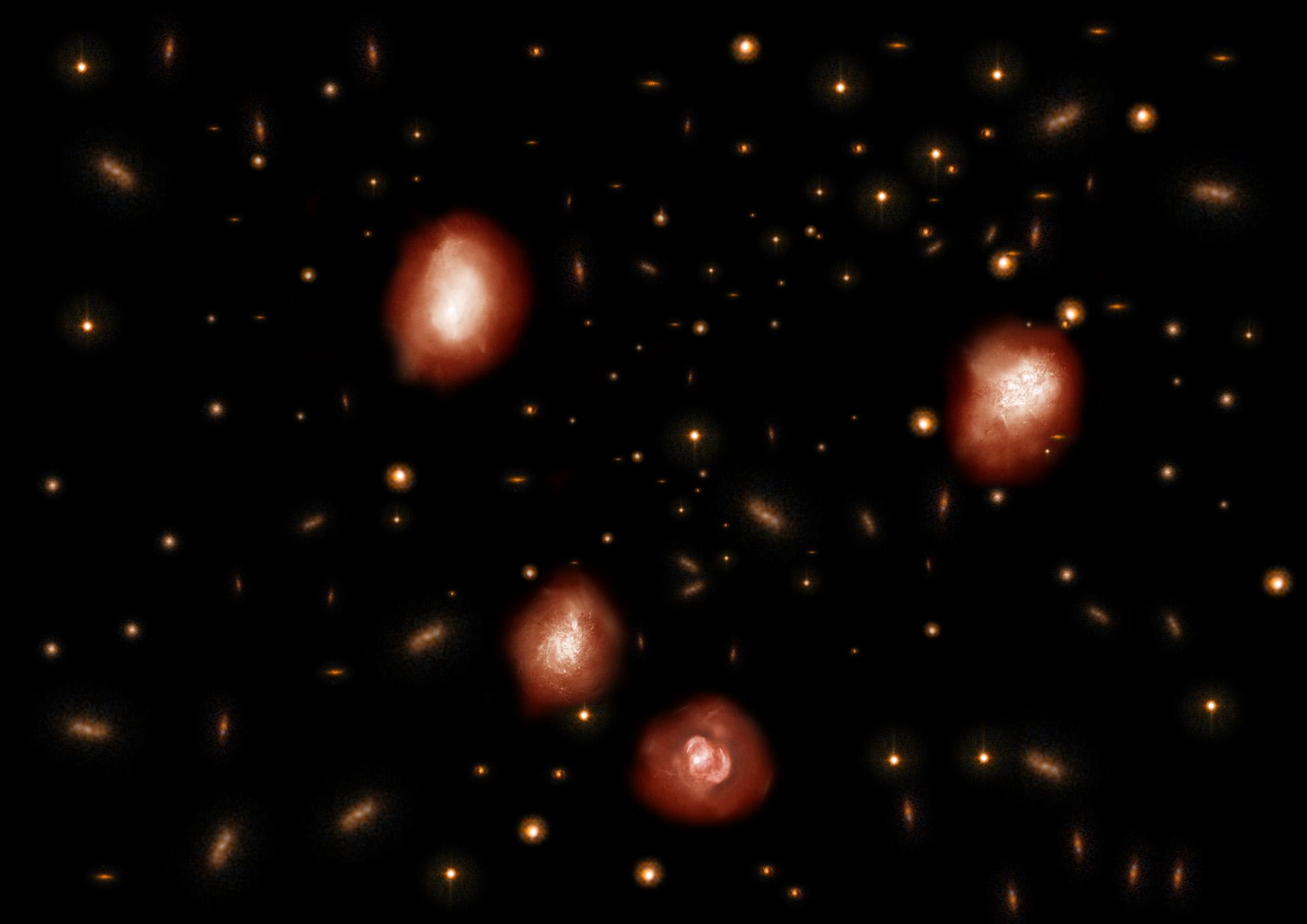 Художественное представление далеких чрезвычайно красных и массивных галактик обнаруженных ALMA. Credit NAOJ